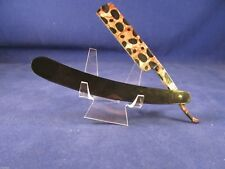 6/8 Black Straight Razor With Lepoard Blade Mint Made In France Very Nice