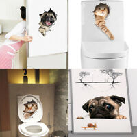 3d cats wall sticker toilet dogs bathroom room decoration animal pvc sticker NT