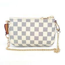 Checkered Pochette Mini Handbag with Detachable Crossbody & Short Chain (Cream)