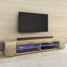 Meuble tv MITCHELL 180 cm effet chêne wotan blanc noir éclairage LED
