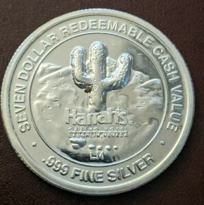 .999 Fine Silver Seven Harrah's Casino Redeemable Cash Value Gambling Coin 20g