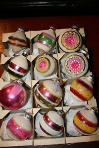 VINTAGE SHINY BRITE GLASS CHRISTMAS ORNAMENTS 3 INDENTS ALL WITH MICAH IN SHINY