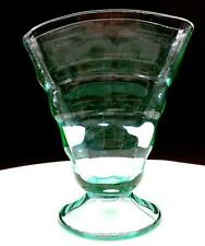 "PADEN CITY GLASS #191 PARTY LINE VASELINE GREEN 6"" FOOTED FAN VASE 1928-"