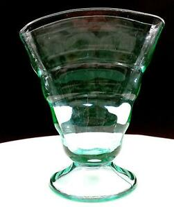 "PADEN CITY GLASS #191 PARTY LINE VASELINE GREEN 6"" FOOTED FAN VASE 1928"