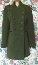 Green military style coat double breasted New Look size 12