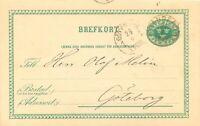 """SCHWEDEN 1889, """"FRÄNDEFORS"""" (FRENDEFORS) sehr selt. K1 u. K1 """"GÖTEBORG 1 TUR"""""""