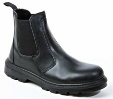 Safety Boots Unisex Dealer Boots Leather Black Metal Free Work Shoes, Wide, UK 4