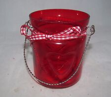 Valentine's Day Decor Red Glass Country Primitive Rustic Small Jar Candle Holder