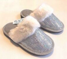 New Children's Place Girls Silver Sequin Fur Indoor Slippers Size Youth 12-13