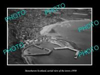 OLD LARGE HISTORIC PHOTO OF STONEHAVEN SCOTLAND, AERIAL VIEW OF TOWN c1950