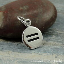 925 Sterling Silver Equality Symbol Charm - LGBT Gender Gay Rights Pendant NEW