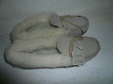 WOMENS MOCCASIN SLIPPERS SIZE 7UK 40EU BEIGE REAL SUEDE WOOL LINED BY COOLERS