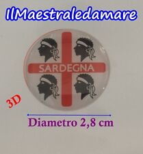 Adesivo 4 Mori Targa 3D Sardegna Souvenir Macchina Moto Rotondo Diametro 2,5 cm