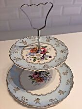 VINTAGE CAKE STAND 1940s 1950s Blue Harlequin 2-Tier Gold Chintz Rose JAMES KENT