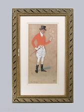 PORTRAIT DE CAVALIER ANGLAIS encadré,  The Spooney, signé, offset, équitation