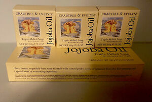 3 Crabtree & Evelyn  Soap Jojoba Oil Triple Milled With Shea Butter 3.5 oz. New