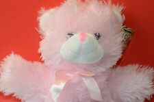 Cuddly Cousins 17 inch Stuffed Teddy Bear, Pink, with Neck Bow, Very Soft, CUTE