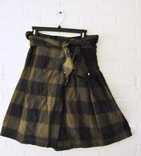 ef02394721 *ZARA* Buffalo Check Olive Green black Shirt Tie Waist Skirt Zipper Pull XS  EUC