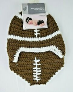 Football - Hand Crocheted Hat & Diaper Cover Set - Infant Size: 0 - 9 Months New