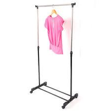 Portable Rolling Clothes Rack Single Hanging Garment Bar Heavy Hanger Adjustable