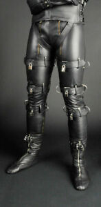 MEN'S LEATHER PANTS DOUBLE ZIP BLUF FETISH GAY STYLE  WITH LOCKS FREE