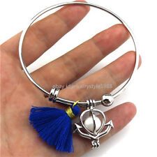 BY6 Silver Copper Oysters Pearl Cage Sail Anchor Tassel Bangle Bracelet Women