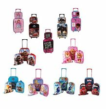 DISNEY KIDS BOYS GIRLS CABIN TROLLEY CASE SET WHEELED SUITCASE SCHOOL LUNCH BAG
