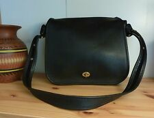 Coach Vintage Black Leather Stewardess Crossbody Shoulder Bag #9525
