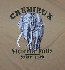 VICTORIA FALLS / SAFARI PARK / ANIEL CREMIEUX / ELEPHANT / OCRE T-SHIRT SIZE XL