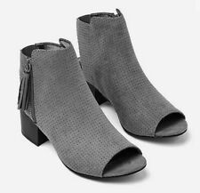JUSTICE GREY PEEP TOE TASSEL ANKLE BOOTS SUPEE CITE!!