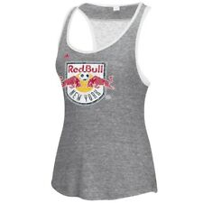 New York Red Bulls MLS Adidas Women's Pearl Logo Light Grey Lace Back Tank Top