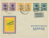 LATVIA 1928 RIGA SUPERB REGISTERED AIR MAIL COVER TO LUZERN SWITZERLAND