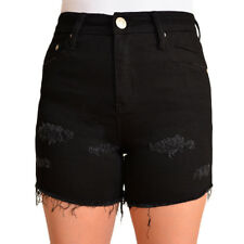 WAKEE BLACK DENIM SHORTS WITH RIPS. SIZE 6-16