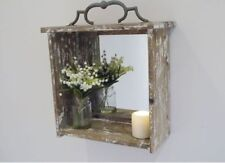Square Wooden Decorative Mirrors with Shelf