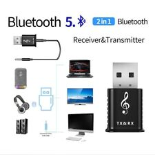 USB Bluetooth 5.0 Audio Transmitter/Receiver Adapter for TV/PC/Car AUX Speaker ^