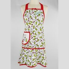 Kay Dee 100% Cotton Apron Holidays Christmas Winter Holly Leaves NWT