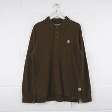 Vintage TIMBERLAND Brown Long Sleeved Polo Shirt Mens Size Medium