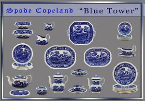 Spode Copeland Blue Tower Teile zur Wahl teller platte kanne tasse england blau