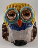🌈 Vintage Enesco 1976 Art Pottery Adorable Owl Figurine Terracotta Clay EC