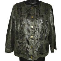 Ruby Rd. Womens Dark Green Snake Skin Print Snap Front 3/4 Sleeve Jacket Size 12