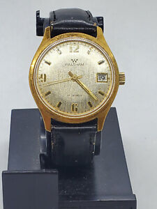 Waltham Wind Up Vintage Mens Watch Leather Black Strap 17 Jewels 21600 RUNNING