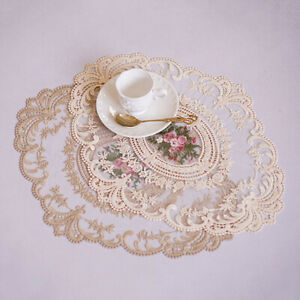 Oval Embroidered Lace Placemat Coaster Coffee Doilies Table Mat Cover Xmas Decor