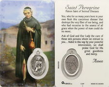 NEW LAMINATED ST. PEREGRINE PRAYER HOLY CARD W/  MEDAL PATRON ST CANCER PATIENTS
