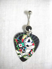 NEW DAY OF THE DEAD SUGAR SKULL GIRL PROFILE GUITAR PICK BLACK CZ BELLY RING