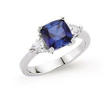 Sapphire Ring Engagement Ring Sterling Silver Platinum Plated Dress Ring