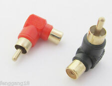 2x Gold RCA Male Plug to RCA Female Jack Right Angle AV Audio Adapter Red +Black