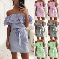 Women Summer Off-shoulder Beach Casual Striped Strap Skirt Short Mini Dress