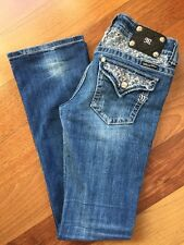 MISS ME Jeans~size 29~style JP5002-36 Boot~medium blue distressed