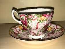 ROYAL ALBERT OLD COUNTRY ROSES RUBY CELEBRATION RIBBON PINK CHINTZ CUP & SAUCER