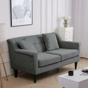 Fabric Upholstery Double Seat Sofa Wing Back Loveseat 2 Seater Couch Living Room